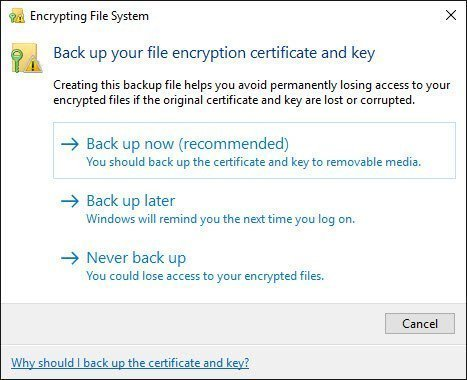 "Windows ""Back Up Your File Encryption Certificate and Key"" Prompt at Login"